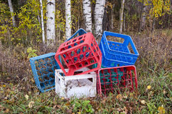 Plastic boxes from beer bottles in autumn forest Stock Images