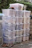 Plastic Boxes. Big Plastic Tubs Boxes Ready For Delivery stock photos