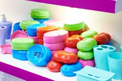 Plastic boxes for soap in store. Plastic boxes for soap in the household goods store stock images