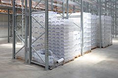 Plastic Boxes in Warehouse. Plastic Boxes at Pallet Rack in Distribution Warehouse royalty free stock images