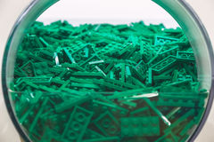 Plastic Brick Toy in Green Colour Royalty Free Stock Image