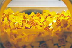 Plastic Brick Toy in Yellow Colour Stock Photography