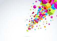 Plastic bright cubes fly out background. Vector illustration royalty free illustration
