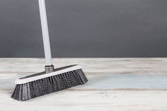 Plastic Broom Gray Background Royalty Free Stock Photo