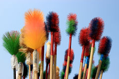 Plastic broom. These are plastic broom on sky background Stock Images