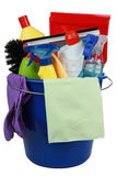 Plastic bucket with cleaning products cleaning equipment Stock Photos