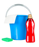 Plastic bucket with cleaning supplies Royalty Free Stock Images