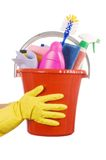 Plastic bucket with cleaning supplies Stock Photography