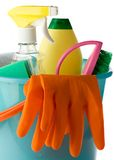 Plastic bucket with cleaning supplies Stock Photos