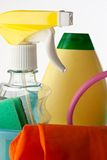 Plastic bucket with cleaning supplies Royalty Free Stock Photo