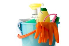 Plastic bucket with cleaning supplies Royalty Free Stock Image