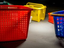 Plastic bucket in concept of storage.  stock photos