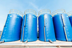 Plastic bucket filter large water used to produce food. Stock Photo