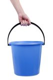 Plastic bucket in hand Stock Photography