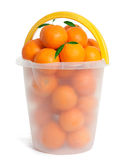 Plastic Bucket with orange fruits Stock Images