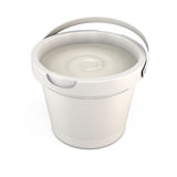 Plastic bucket of putty with the lid open. 3d. Royalty Free Stock Photo