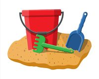Plastic bucket with rake and shovel. Isolated on white. Bucket, rake and scoop toys for children sandbox and playground. Vector illustration in flat style Royalty Free Stock Photo
