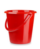 Plastic bucket. Red plastic bucket isolated on white Stock Image