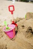 Plastic bucket with shovel Royalty Free Stock Photo