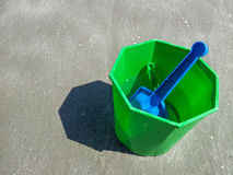 Plastic bucket, shovel summer beach toy Stock Photo