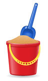 Plastic bucket and shovel vector illustration Stock Photo