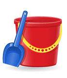 Plastic bucket and shovel vector illustration Royalty Free Stock Photos
