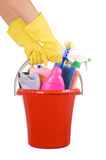 Plastic Bucket With Cleaning Supplies On White