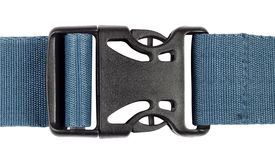 Plastic buckle with a blue belt Royalty Free Stock Photos