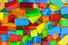 Plastic building blocks background Royalty Free Stock Photography