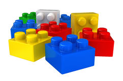 Plastic building blocks. 3d render of plastic building blocks isolated over white background stock illustration