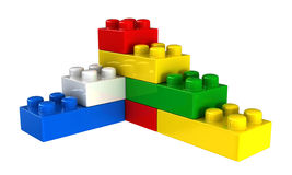 Plastic building blocks. 3d render of plastic building blocks isolated over white background Stock Photography