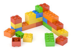 Plastic building blocks, 3D rendering Stock Image