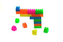 Plastic building blocks isolated Royalty Free Stock Photos