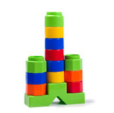 Plastic Building Blocks Isolated on White Stock Photo