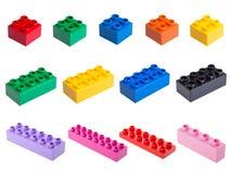 Plastic building blocks stock image