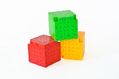 Plastic building blocks isolated Royalty Free Stock Image