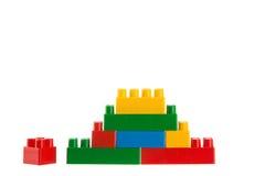 Plastic building blocks isolated on white Stock Image