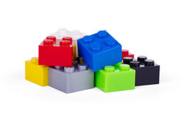 Plastic building blocks isolated on white. Background royalty free stock image