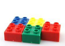 Plastic building blocks isolated on white background.  Royalty Free Stock Image