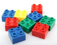 Plastic building blocks isolated on white background.  Stock Photos