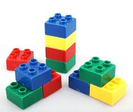 Plastic building blocks isolated on white background.  Royalty Free Stock Images