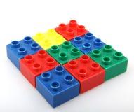 Plastic building blocks isolated on white background.  royalty free stock photo