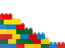 Plastic building Blocks Isolated on White Background. 3d illustration Royalty Free Stock Photography