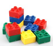 Plastic building blocks isolated on white background.  Royalty Free Stock Photography