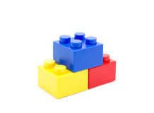 Plastic building blocks on white background Stock Photography