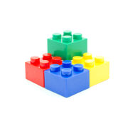 Plastic building blocks on white background Royalty Free Stock Photo