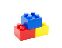 Plastic building blocks on white background Royalty Free Stock Images