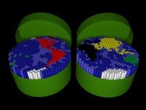 Plastic buis twee met tellers die in een kaart van t worden ingepakt Royalty-vrije Stock Afbeeldingen