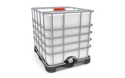 Plastic bulk with metallic cage. Isolated on white background Royalty Free Stock Images