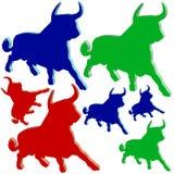 Plastic bulls in different colors Stock Image